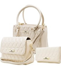 bolsa feminina franca by shop tiracolo tote metalasse marfim