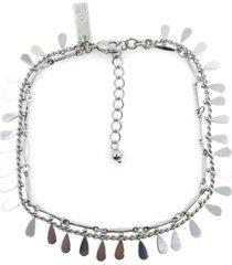 silver-tone shaky teardrop charm double strand ankle bracelet, created for macy's