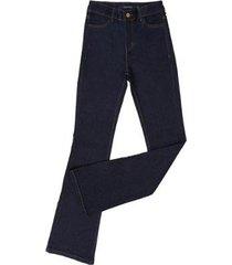 calça jeans tassa boot cut cintura alta feminina