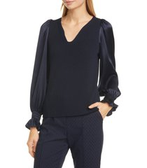 women's tailored by rebecca taylor long sleeve pullover blouse
