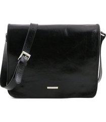 tuscany leather tl141254 tl messenger - borsa a tracolla 2 scomparti - misura grande nero