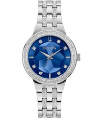bulova women's phantom stainless steel & crystal bracelet watch 32.5mm