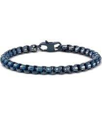 he rocks link chain bracelet in blue-tone stainless steel