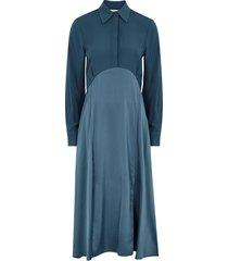 blue panelled shirt dress