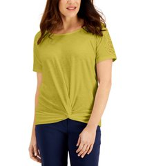 jm collection twist-hem crochet-trim top, created for macy's