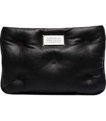 maison margiela padded leather clutch bag - black