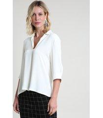 camisa feminina ampla manga 3/4 off white
