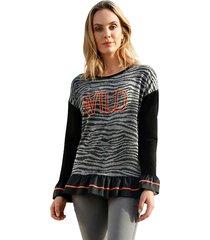 sweatshirt amy vermont zwart::grijs::oranje