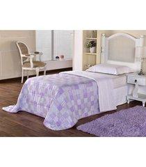 kit edredom solteiro dôda baby + porta travesseiro celine lilas - tricae