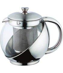 bule para chá em vidro e inox com infusor 800 ml