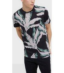selected homme slhavalon aop ss o-neck tee b t-shirts & linnen svart