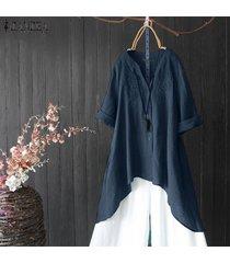 zanzea para mujer cuello en v botón tapas de las señoras causal de la túnica suelta camisa de la blusa de kaftan -azul marino