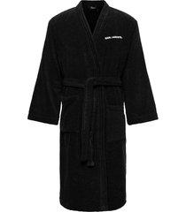 unisex logo bath robe morgonrock badrock svart karl lagerfeld