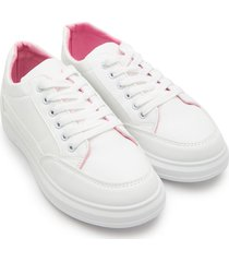 tenis blancos interior rosa color blanco, talla 37