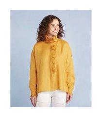 camisa babado manga longa cor: amarelo - tamanho: p