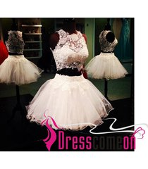 new ball gown 2 pieces high neck tulle short prom dresses/evening/party dress 58
