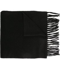 polo ralph lauren embroidered logo cashmere scarf - black