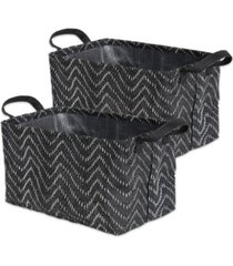 design imports polyethylene coated woven paper laundry bin tribal chevron rectangle medium set of 2