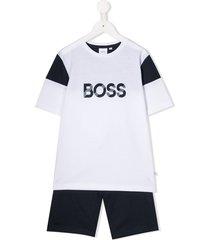 boss kidswear logo print tracksuit set - white