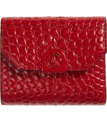women's christian louboutin elisa croc embossed leather wallet -