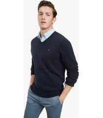 tommy hilfiger men's essential v-neck sweater sky captain - xl