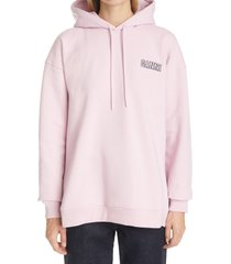 women's ganni software isoli logo hoodie, size large/x-large - pink