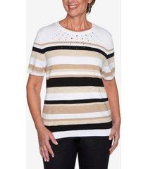 alfred dunner women's missy classics stripe short sleeve sweater