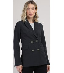 blazer feminino longo transpassado preto