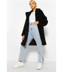 nepwollen jas met zakken, black