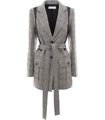 jw anderson belted patchwork jacket - grey