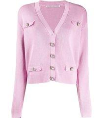 alessandra rich ribbed knit cardigan - pink