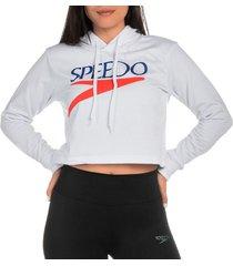 buzo crop hoodie  logo vintage femenino