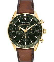 men's movado heritage chrono leather strap watch, 42mm