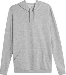 buzo hoodie unicolor color gris, talla l