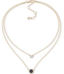 """dkny gold-tone stone & crystal layered pendant necklace, 16"""" + 3"""" extender"""