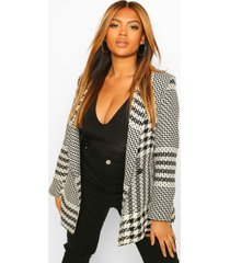 plus multi flannel double breasted blazer, black