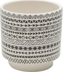 cachepot cerã¢mica aztec native branco 10,3x10,3x10 cm urban - bege - dafiti