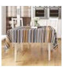 toalha de mesa fascínio preta listrada retangular 2,20m x 1,40m tecido jacquard