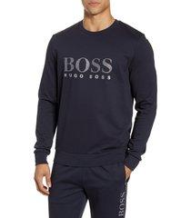 men's boss cotton blend crewneck sweatshirt, size x-large - blue