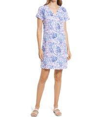 women's lilly pulitzer essie floral dress, size xx-small - purple