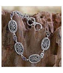 amethyst link bracelet, 'balinese breeze' (indonesia)