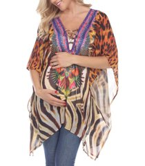 white mark women's maternity animal print caftan with tie-up neckline