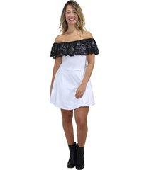 vestido racy modas feminino renda ombro a ombro branco