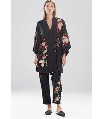 miyabi silk embroidered sleep/lounge/bath wrap / robe, women's, black, 100% silk, size m, josie natori