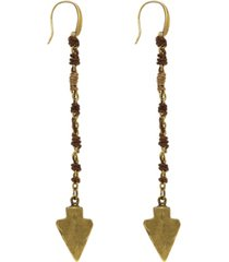 t.r.u. by 1928 14 k gold dipped wrapped linear arrowhead earring with swarovski crystals