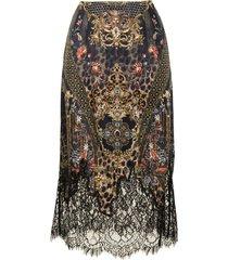 camilla abingdon palace silk slip midi skirt - multicolour