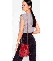 womens want fringe on it bucket crossbody bag - burgundy