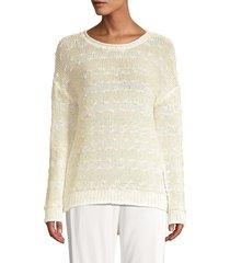peserico women's crochet knit sweater - butter - size 54 (18)