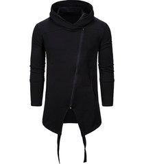 asymmetrical zip up gothic longline hoodie