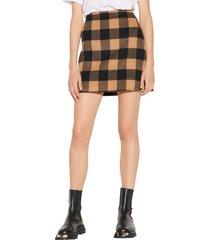women's sandro check woven skirt, size 2 - black